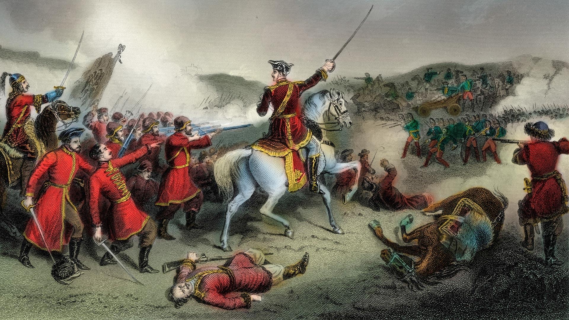 La battaglia di Poltava del 27 giugno 1709 fu la vittoria decisiva di Pietro I di Russia su Carlo XII di Svezia in una delle battaglie della Grande guerra del nord (1700-21) tra Russia e Svezia