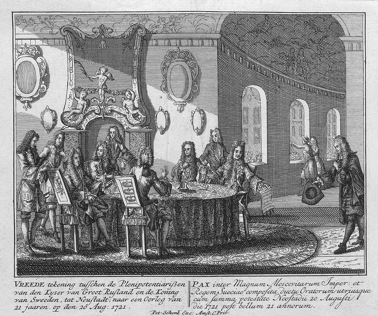 La firma del trattato di pace di Nystad, 20 agosto 1721
