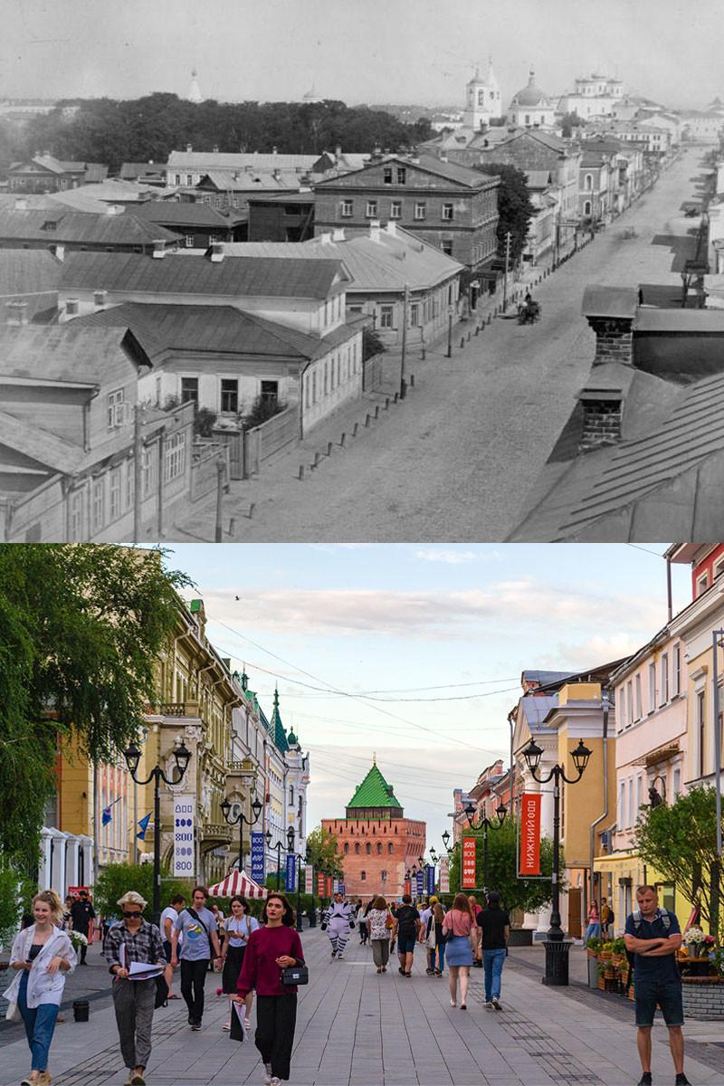 Bolshaya Pokrovskaya street in 1880s and 2021.
