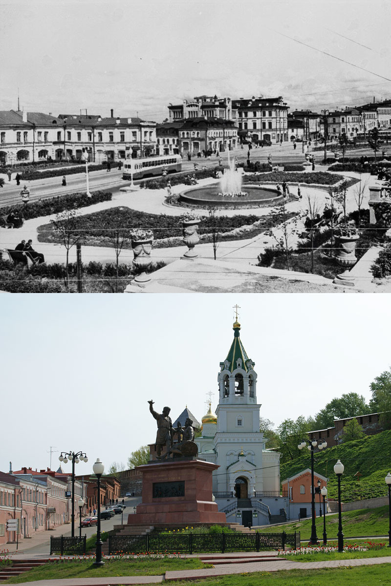 Skoba square, 1957 / Monument to Minin and Pozharsky nowadays.