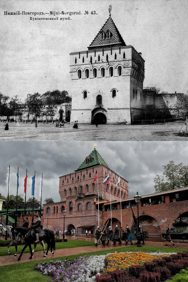 Dmitrievskaya Tower in 1913 and in 2021.