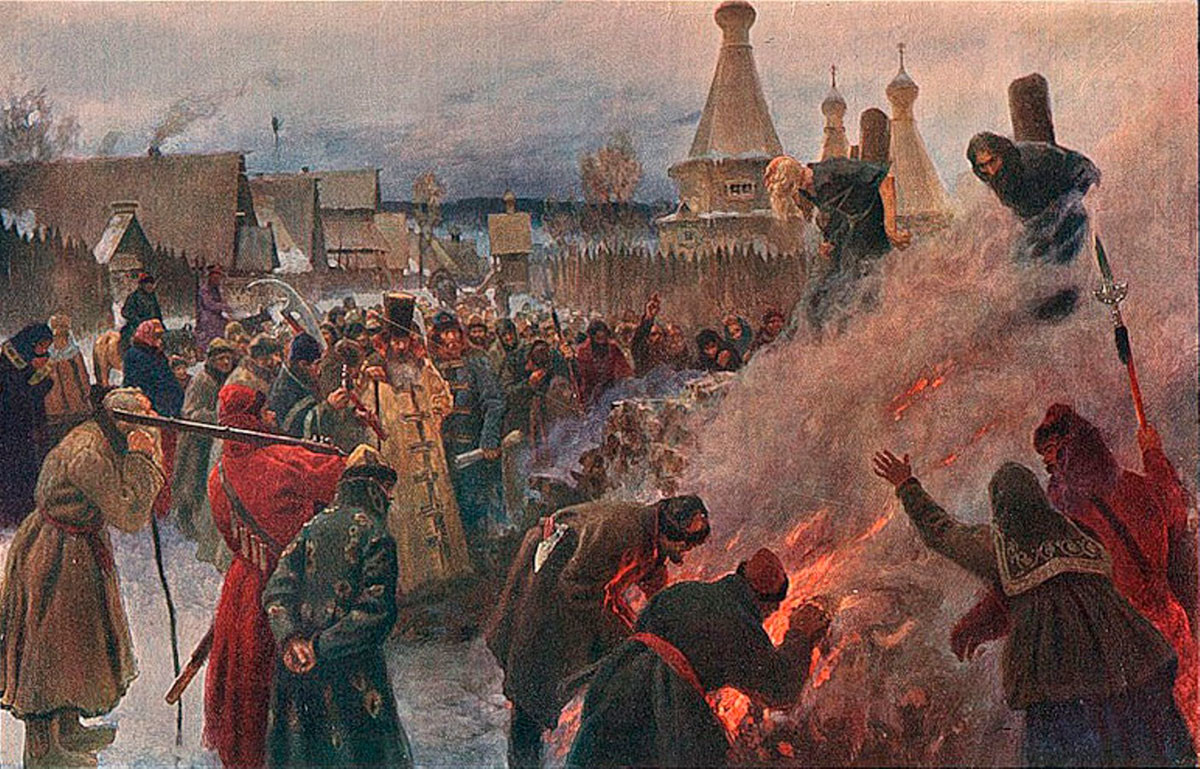 Piotr Myasoyedov.  The fire of Protopape Avvakum, 1897