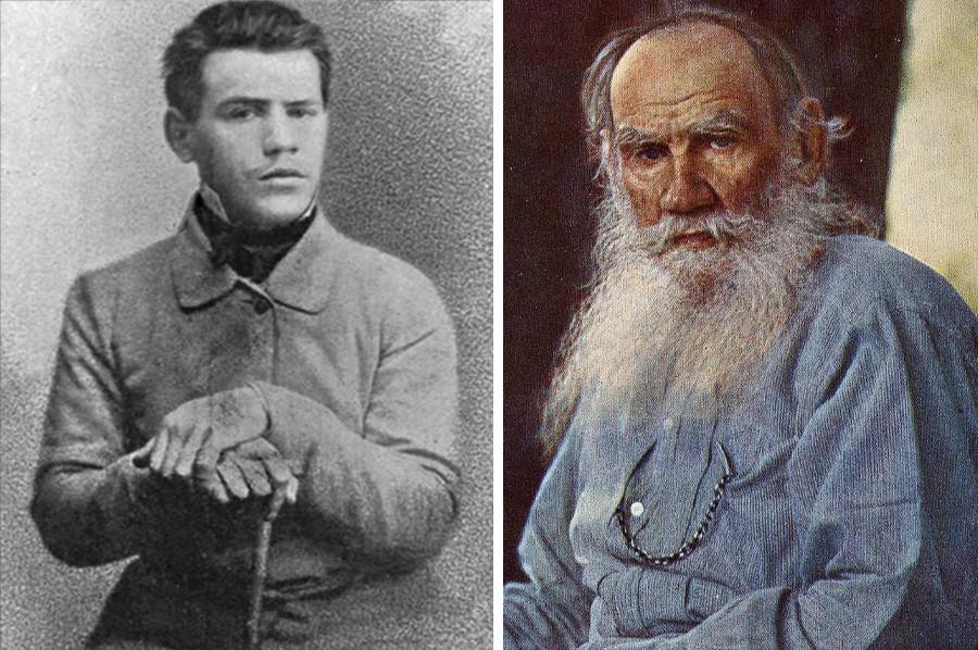 A foto de Tolstói aos 17 anos (esq.) é a mais jovem de que se tem notícia.