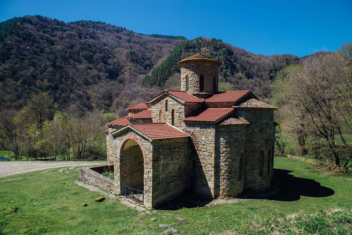 Old abandoned ancient Christian Church of Alanya in the Caucasus Mountains