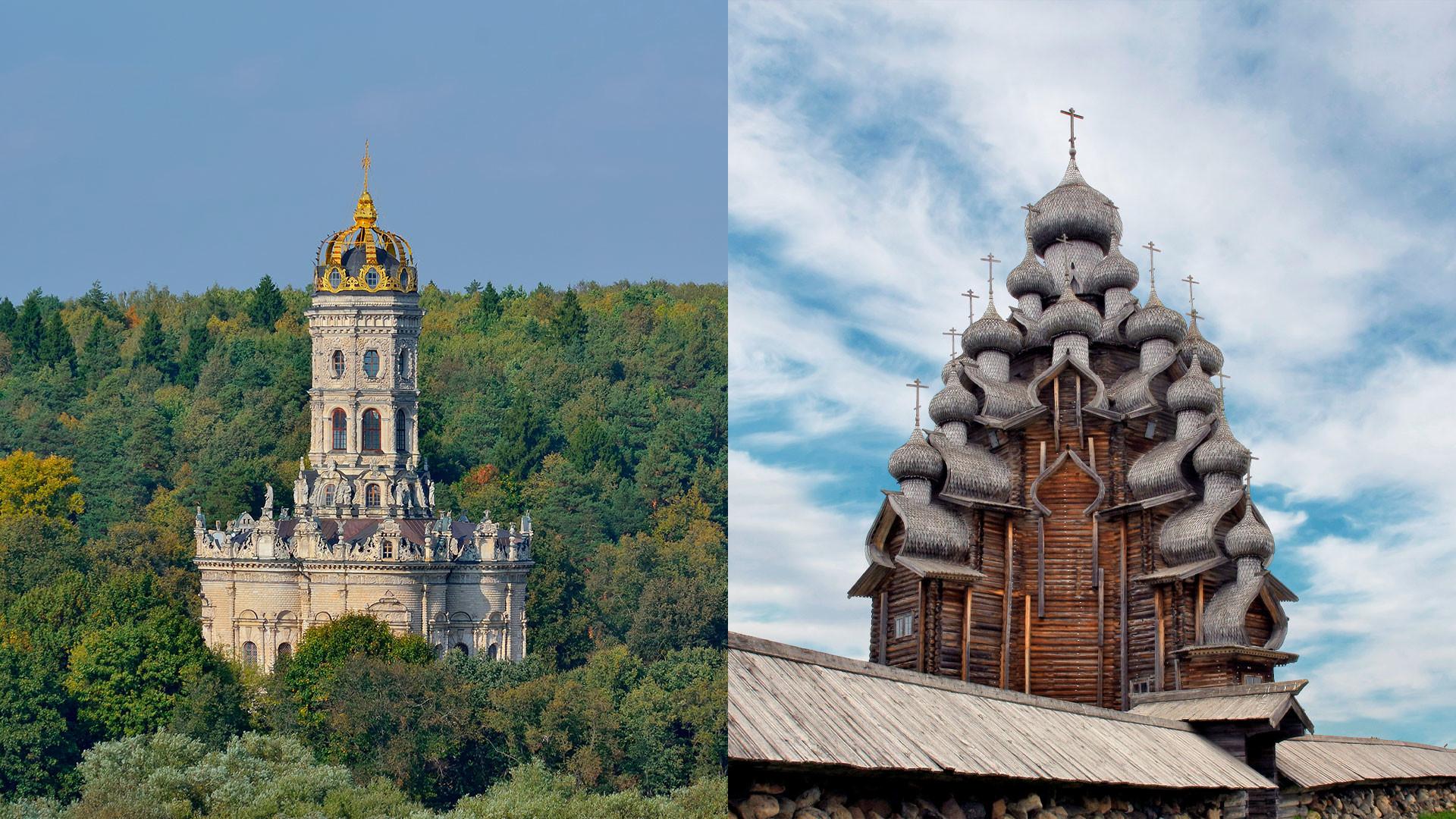 Znamenskaya Church in the Moscow Region (L); Church of the Transfiguration on the Kizhi island