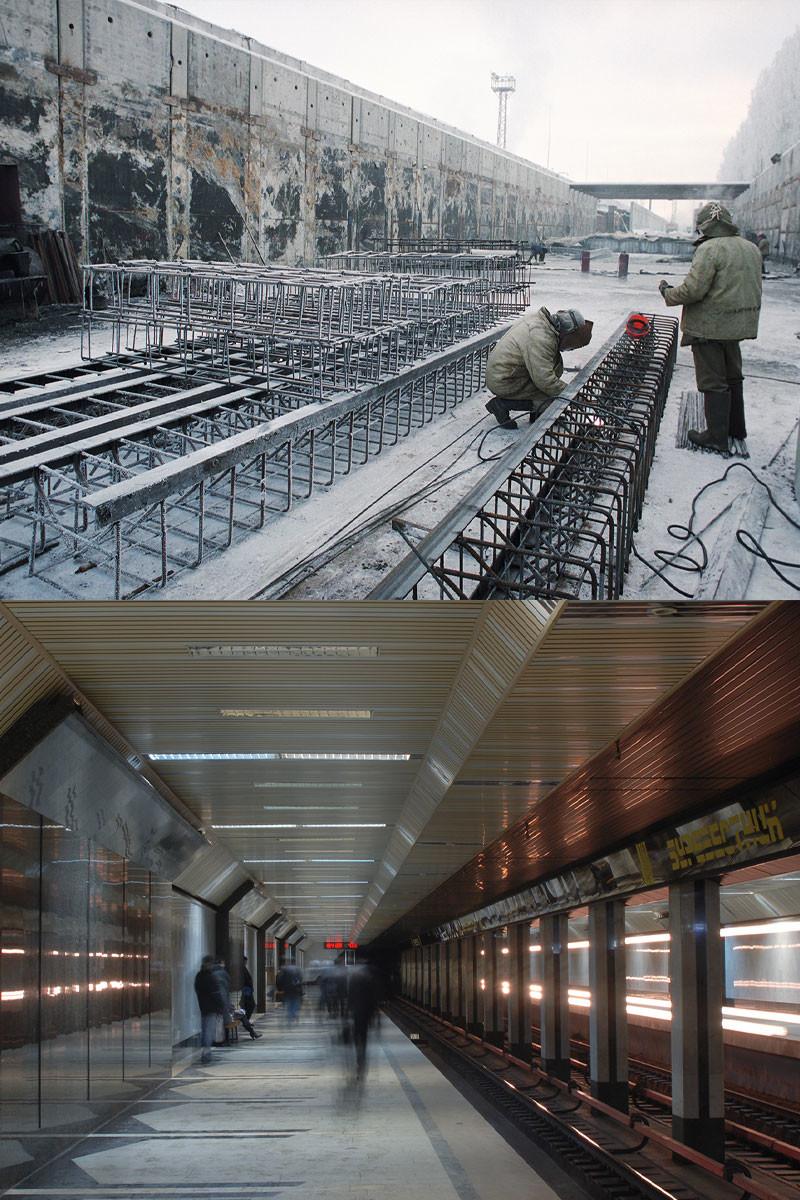 Costruzione della stazione Burevestnik, 1996 / La stazione Burevestnik nel 2009