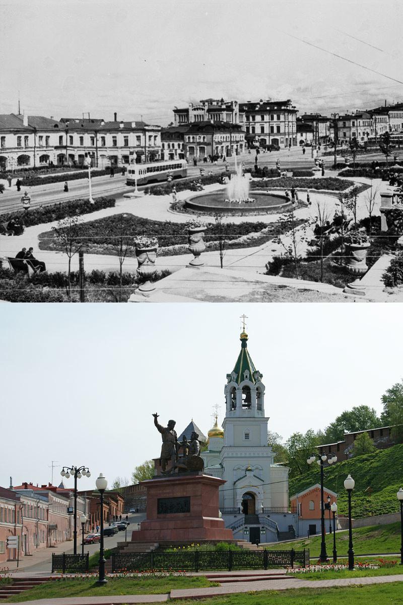Place Skoba, 1957 / Monument à Minine et Pojarski de nos jours