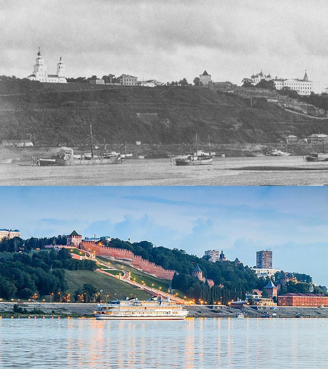 Vue sur le kremlin de Nijni Novgorod, les collines Diatlov et l'escalier Tchkalov en 1886 et maintenant