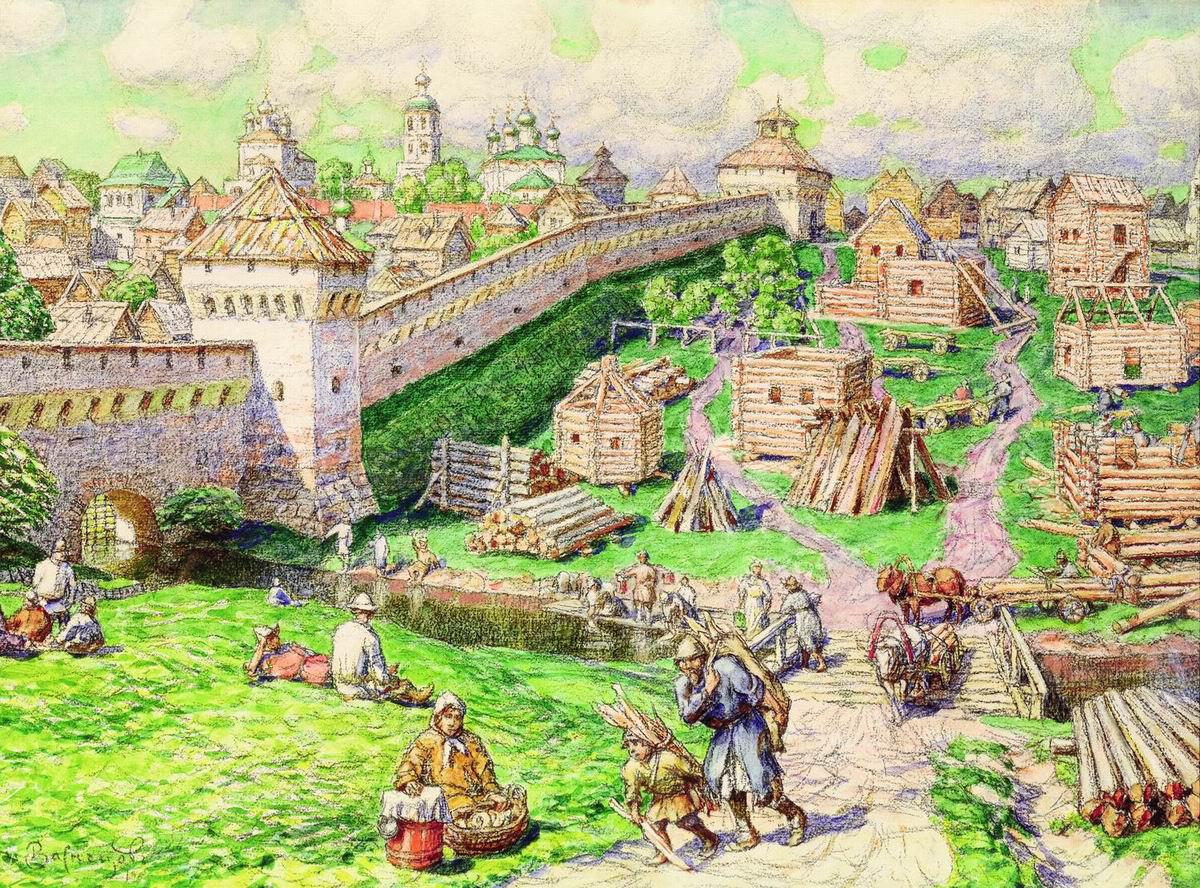 Аполлинарий Васнецов. Лубяной торг на Трубе в XVII веке. 1926