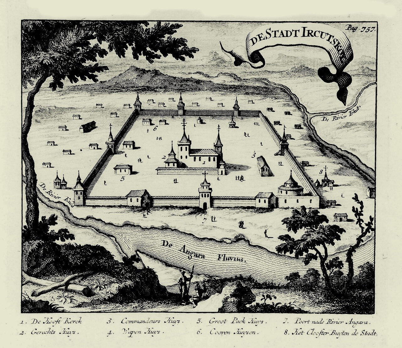 Николаас Витсен. План Иркутского кремля, 1692
