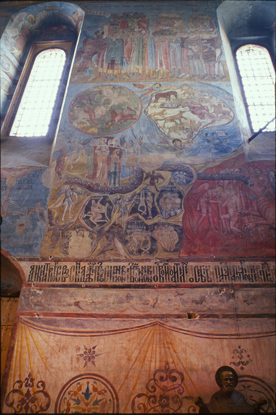 Cathedral of the Annunciation. West wall frescoes, Last Judgement with depiction of sinners in hell. June 26, 1999