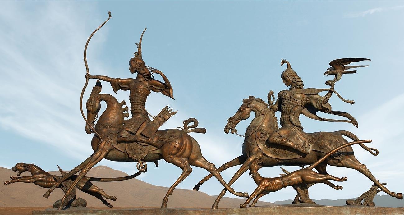 Composition sculpturale « La chasse du tsar »