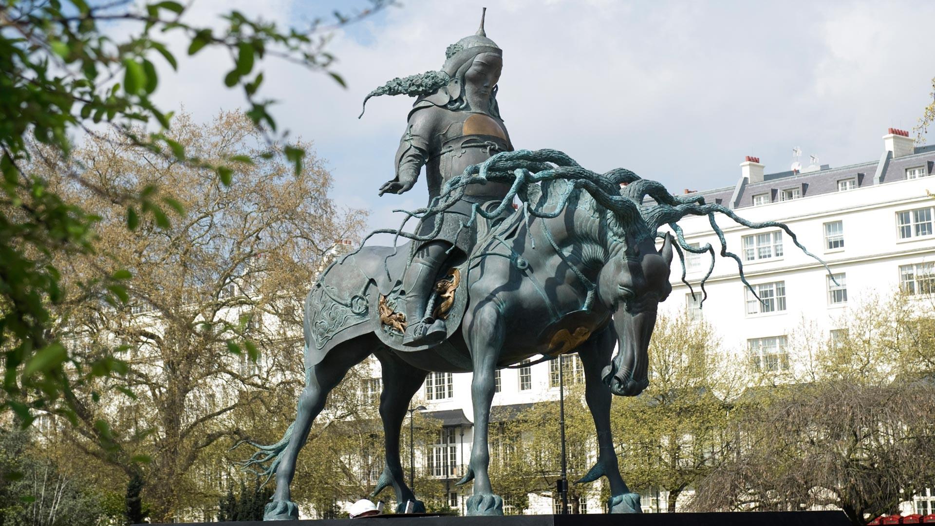Cette sculpture de Gengis Khan a été exposée pendant deux ans à Hyde Park, à Londres.