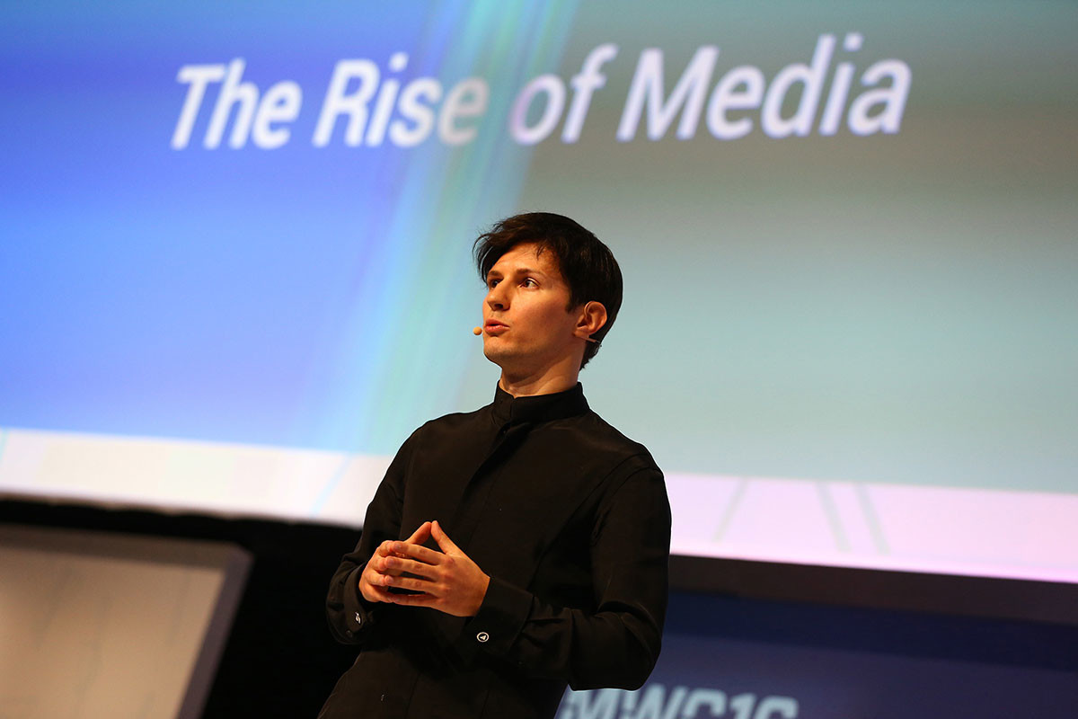 Pawel Durow, Gründer und CEO von Telegram, hält seine Keynote-Konferenz am zweiten Tag des Mobile World Congress im Fira Gran Via Komplex in Barcelona, Spanien, am 23. Februar 2016.