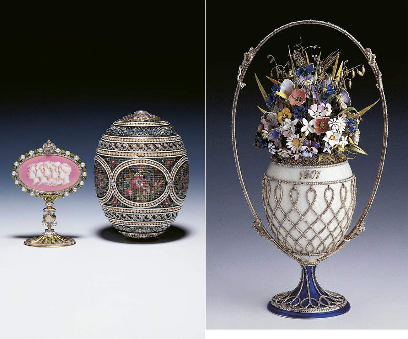 Faberge eggs: The 'Mosaic' (left) and the 'Basket of Wildflowers'