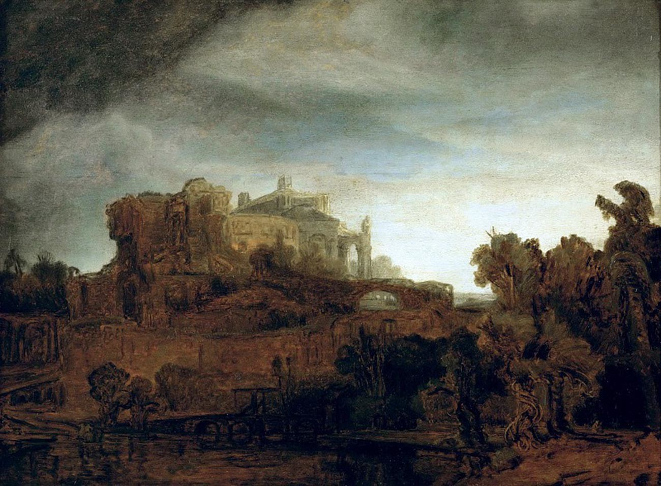 Rembrandt. Landscape with a Castle