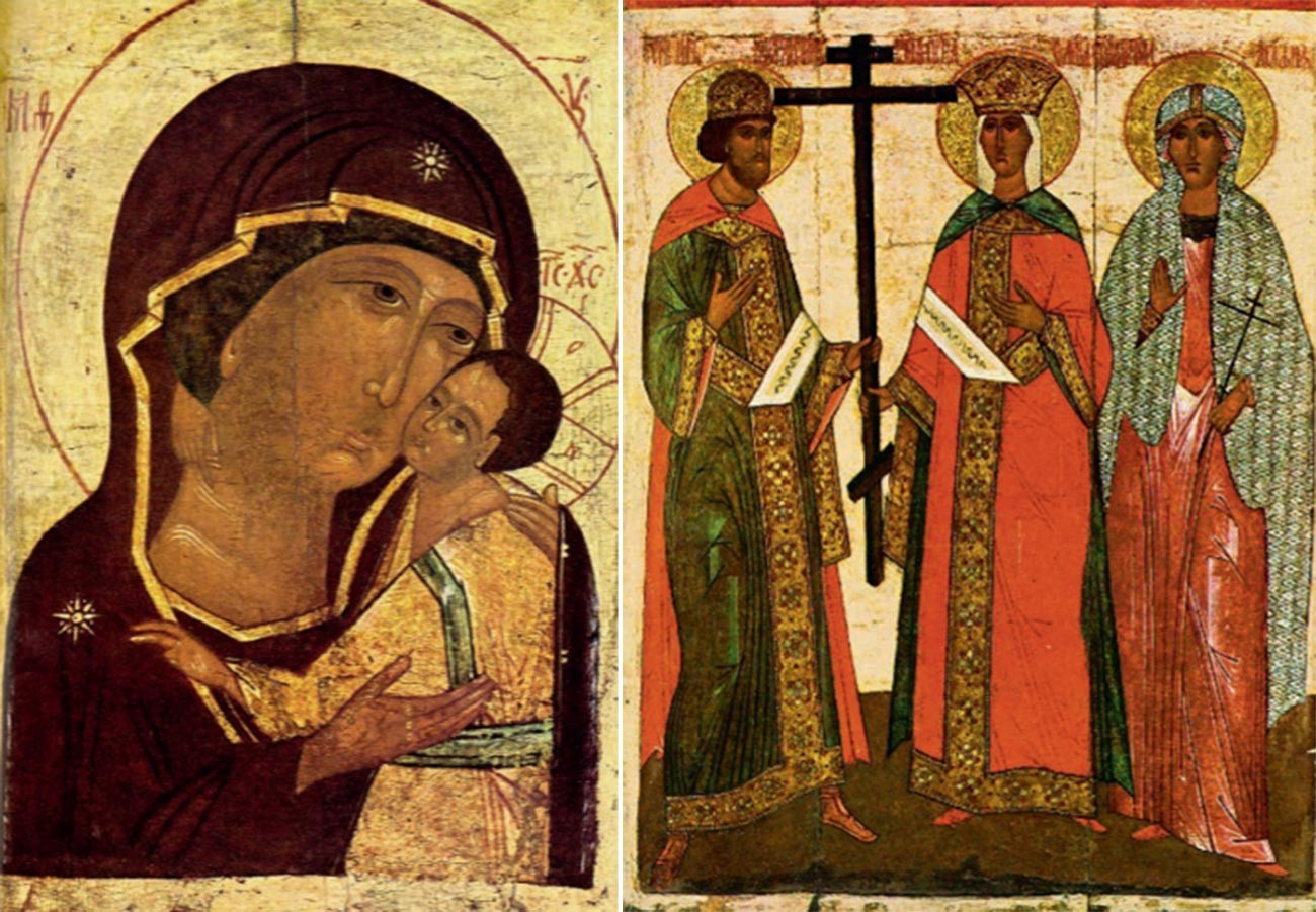 Icons of The Virgin with Child (left) and The Saint Emperor Constantine and His Mother Helen, Saint Agatha icon is also there.