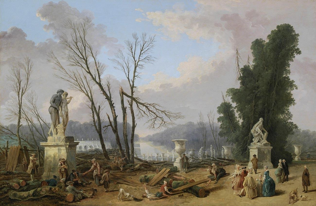 Hubert Robert. Cutting Down the Trees at Versailles