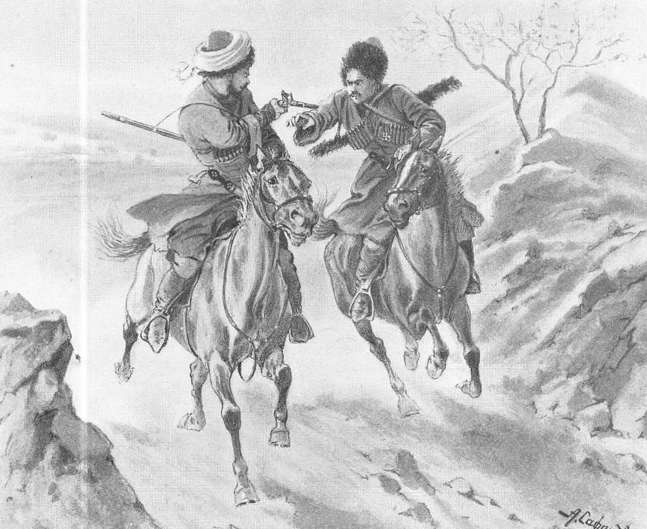 An illustration for Leo Tolstoy's 'Hadji Murat' novel