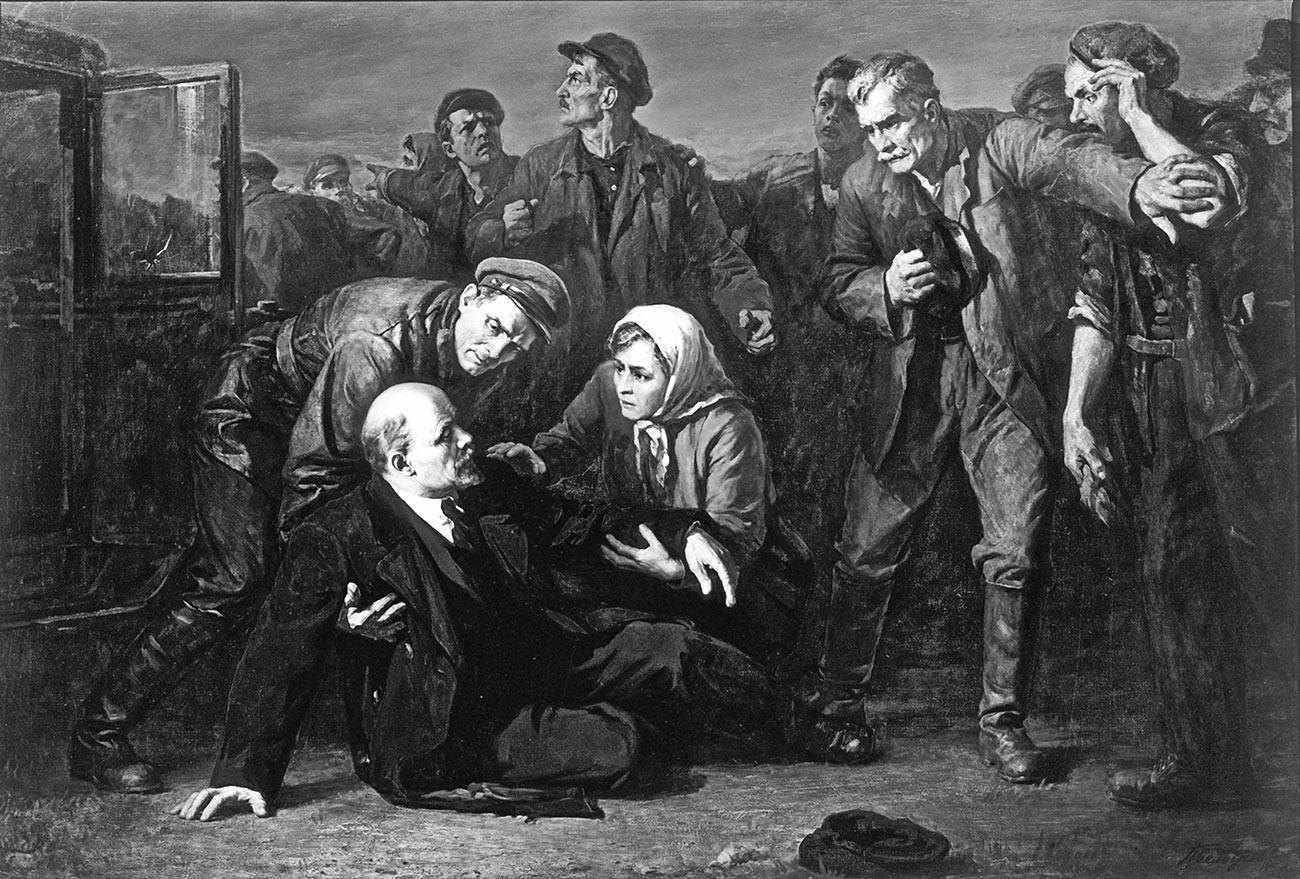 """Репродукција на сликата """"Обид за атентат врз В.И. Ленин"""". Уметник: Пјотр Белоусов (1912-1989)."""