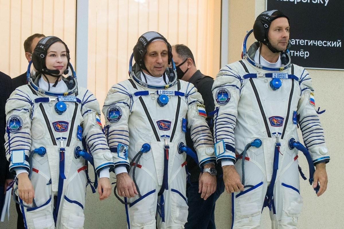 Les trois participants de la mission MS-19 lors des phases de test, début septembre