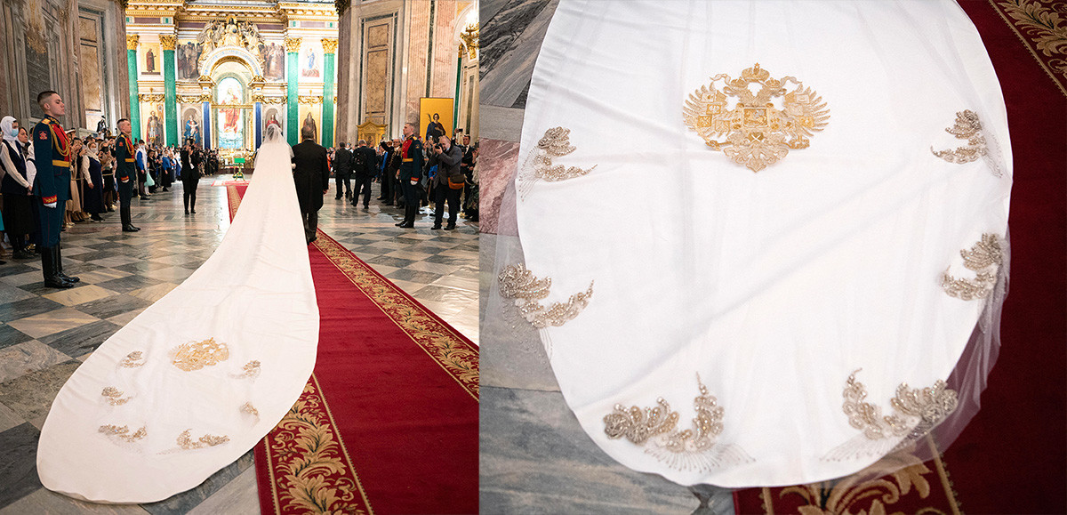 The bride's veil with the Russian Empire's emblem literally dragged across the floor...