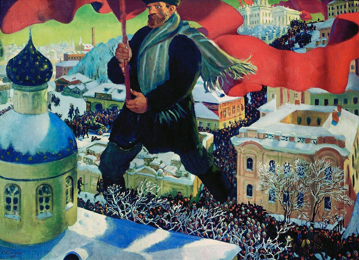 'The Bolshevik' by Boris Kustodiev, 1920