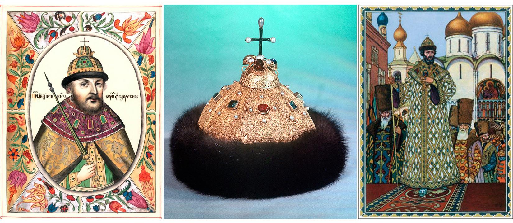Boris Godunov  mengenakan Topi Monomakh.