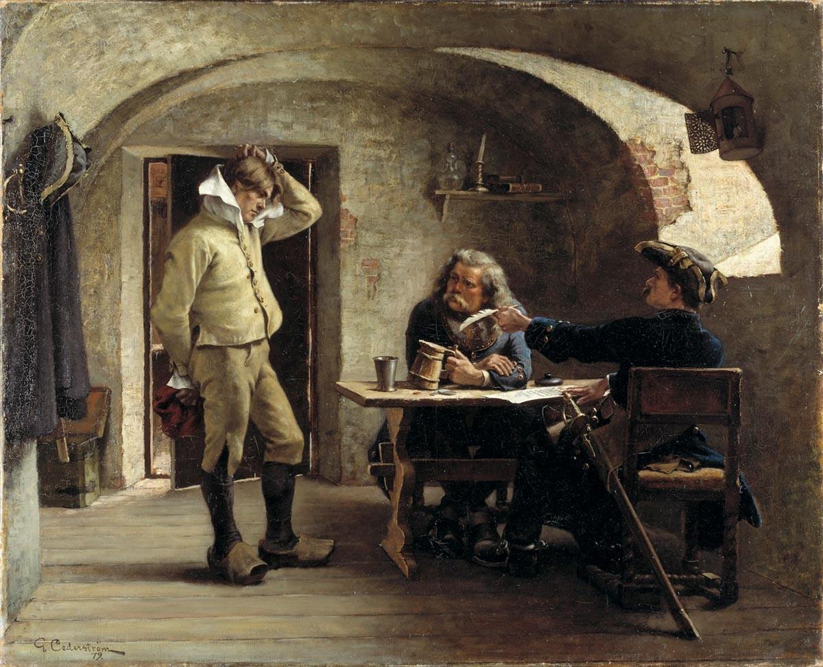 Novačenje narednikov. Gustaf Cederström, 1879