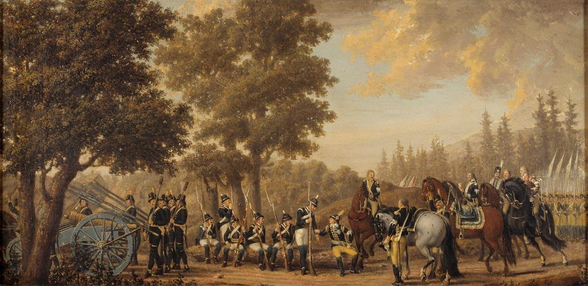 Švedski kralj Gustav III. Z vojakom. Epizoda iz ruske vojne 1789. Pehr Hilleström
