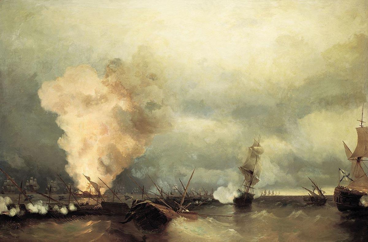 Pomorska bitka pri Viborgu. I. K. Ajvazovski, 1846