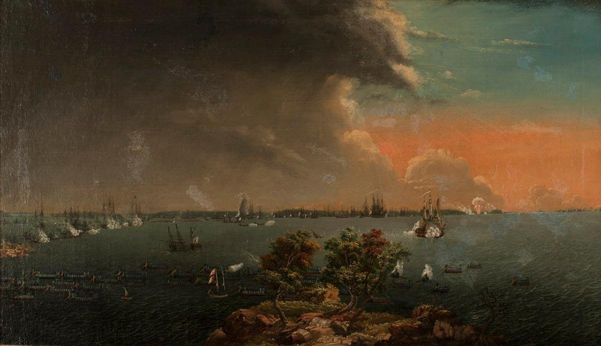 Pomorska bitka; bitka pri Svänsksundu, 8. julija 1790, v kateri je bilo potopljenih 53 ruskih ladij. Johan Deidrich Schoultz