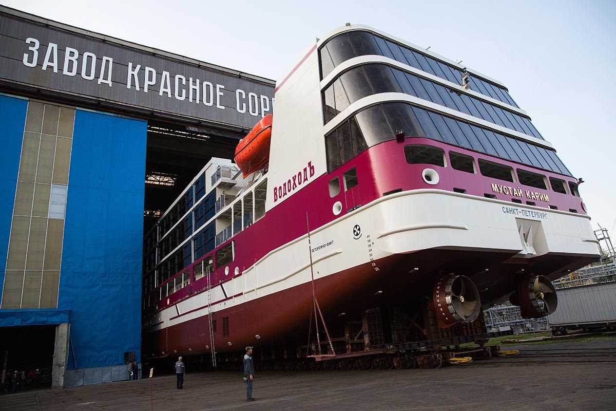 The Mustai Karim ship at the Krasnoe Sormovo factory in Nizhny Novgorod, 2019.