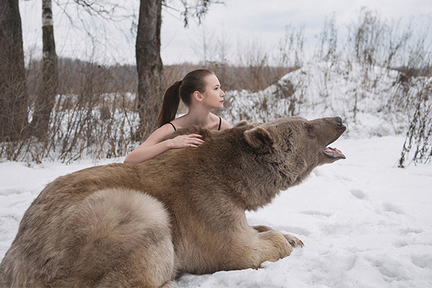 Russian models posing with a bear, an ostrich and raccoons