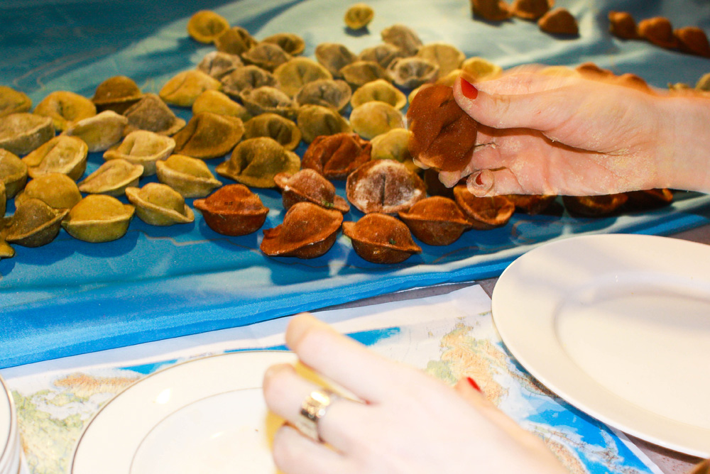 Make your own multicolored pelmeni
