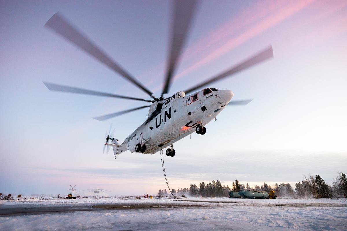 As operações do maior helicóptero do mundo width=