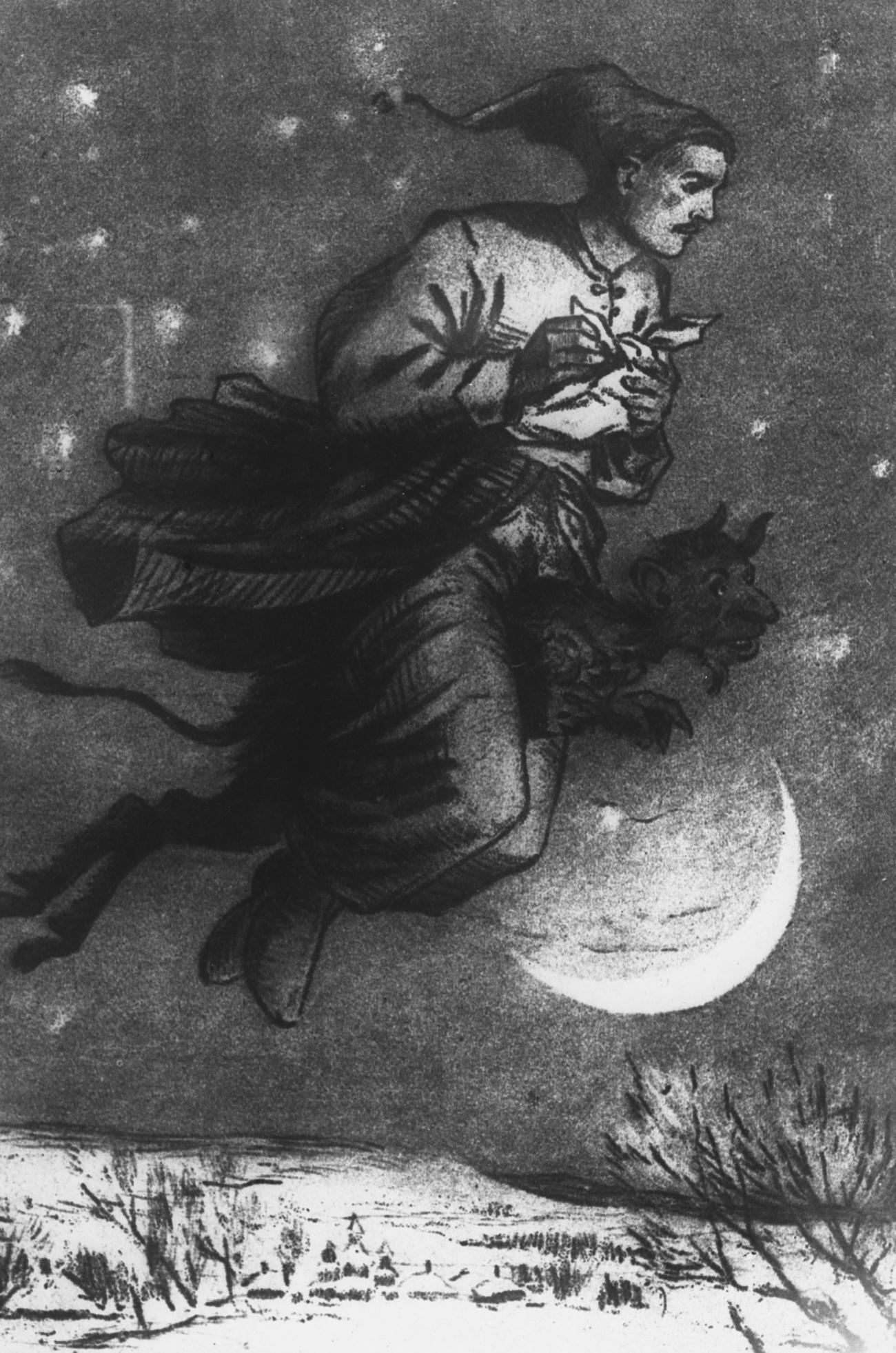 """Una illustrazione per il racconto """"La notte prima di Natale"""" di Gogol. Fonte: Dmitrij Chernov/TASS"""