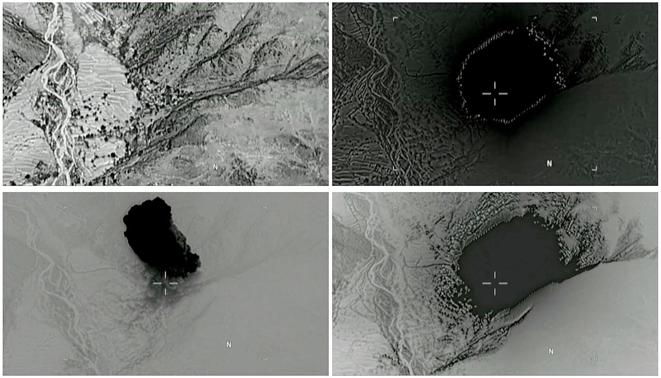 Kombinasi foto yang diambil dari video yang dirilis oleh Departemen Pertahanan AS pada 14 April 2017 menunjukkan (searah jarum jam) ledakan yang dihasilkan MOAB ketika menghantam distrik Achin di bagian timur Provinsi Nangarhar, Afganistan. Sumber: Reuters