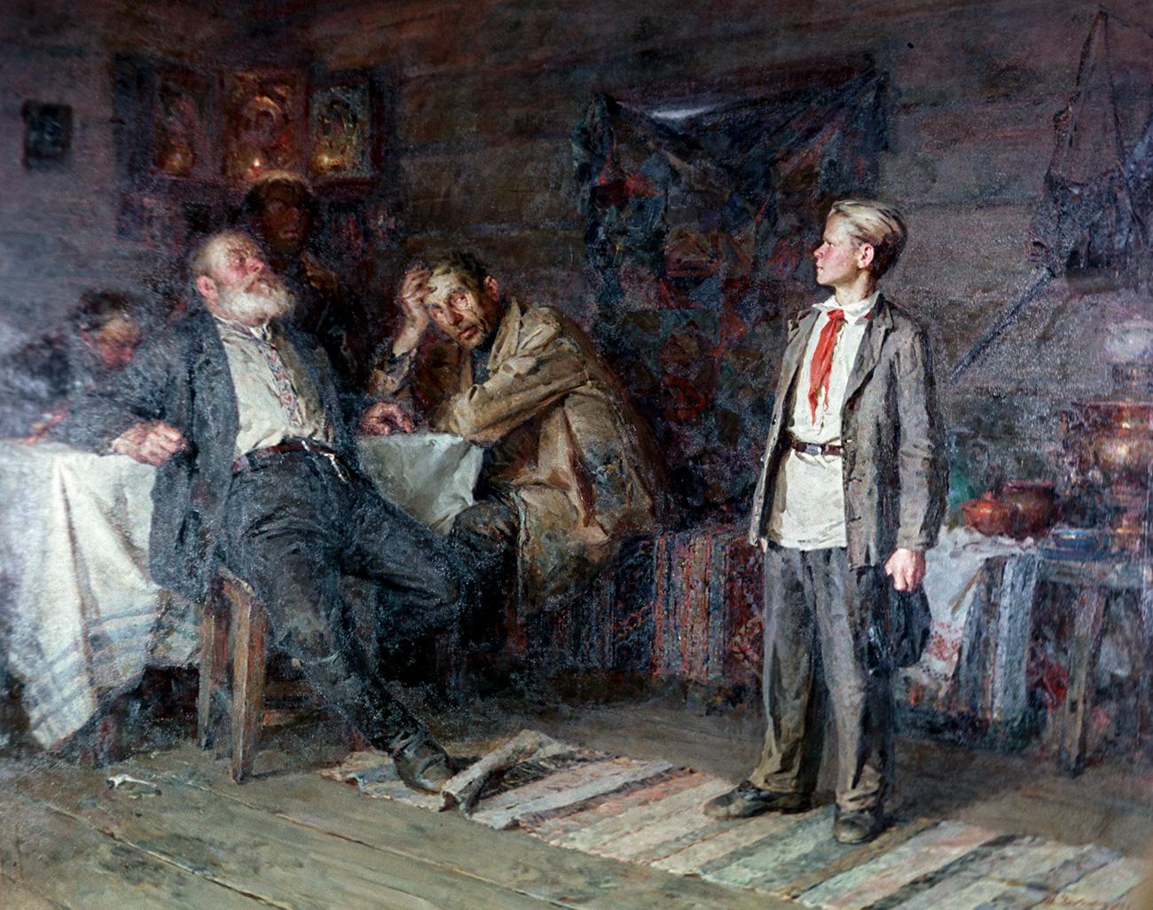 Lukisan sosok Pavlik Morozov oleh Nikita Chebakov. 1952. Sumber: Saikov / RIA Novosti