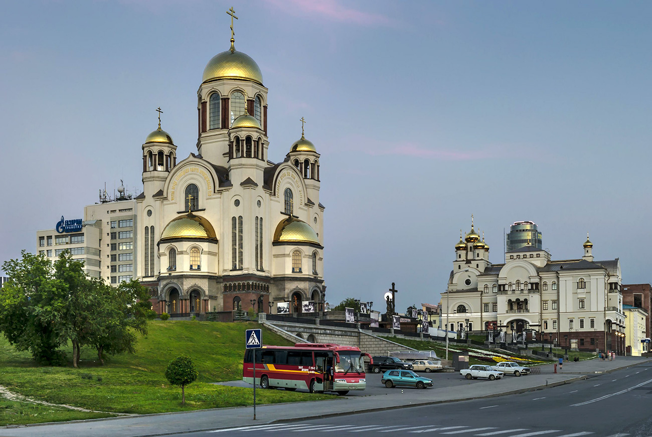 Cathedral on the blood stands on the site of the Ipatiev House, Yekaterinburg.
