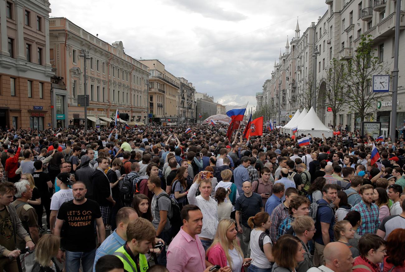 Protesta en el centro de Moscú, el 12 de junio de 2017. Fuente: Reuters