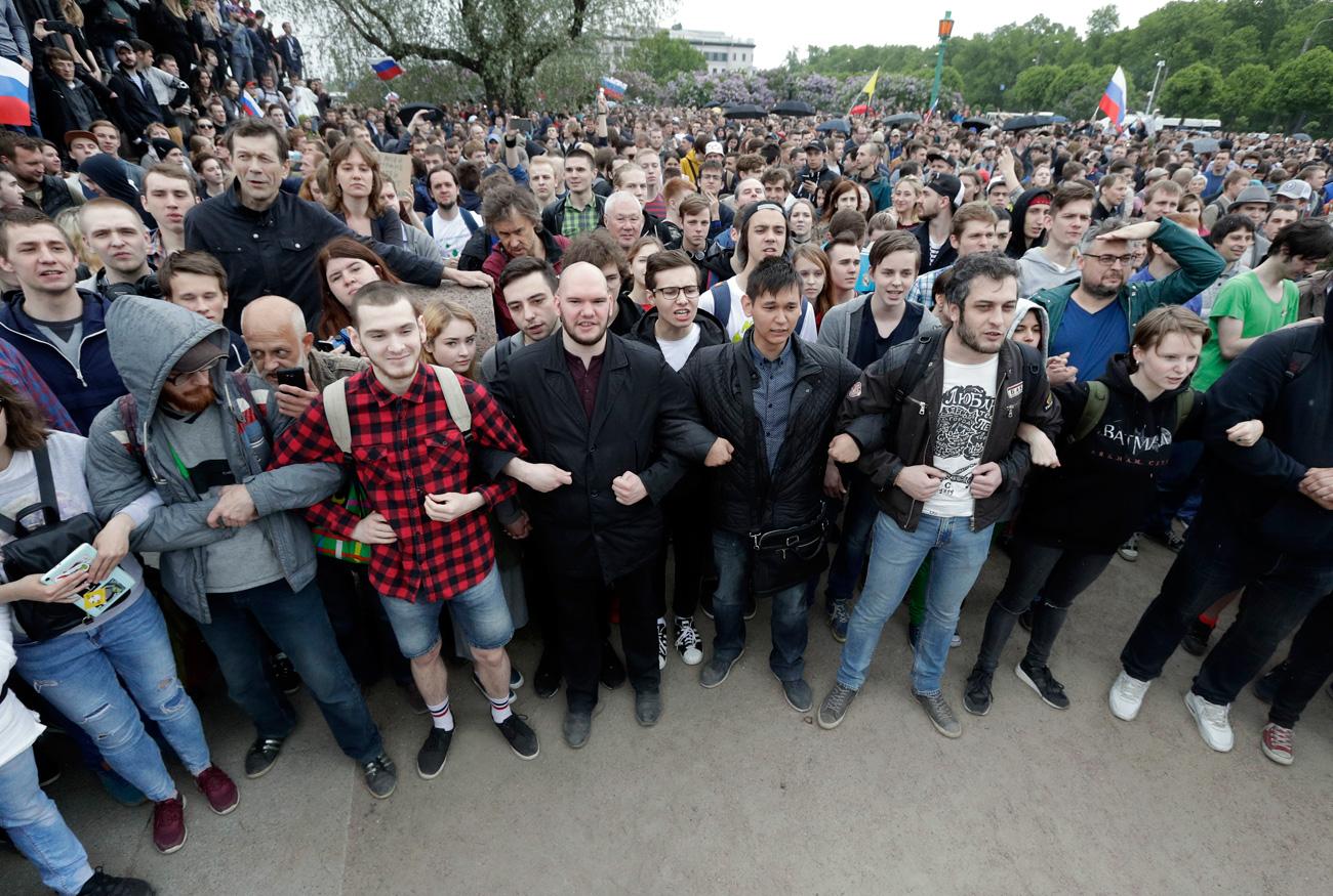 Manifestantes en San Petersburgo, el 12 de junio de 2017. Fuente: AP