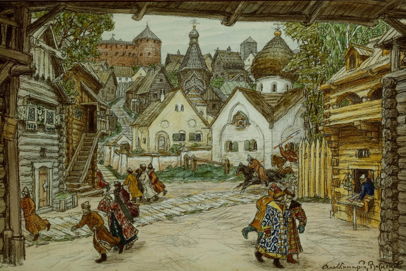 """Дизајнот на сцена на операта """"Опричник"""" на Петар Чајковскиј, гваш на хартија, 1911. Уметник: Аполинариј Михајлович Васнецов (1856-1933). Извор: Legion Media."""