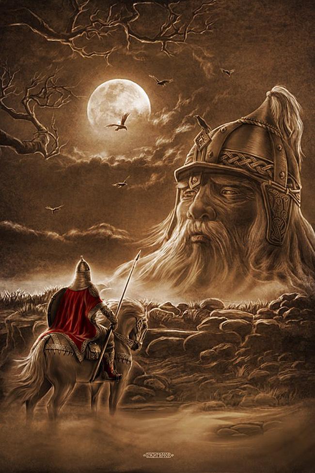 Prizor iz Puškinove poeme Ruslan in Ljudmila, ko se Ruslan spopade z glavo velikana. / Igor Ožiganov