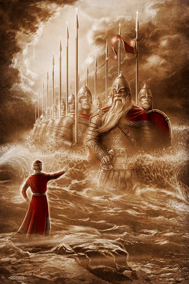 Triintrideset morskih junakov in močni princ Gvidon, liki iz Puškinove Pravljice o carju Saltanu. / Igor Ožiganov