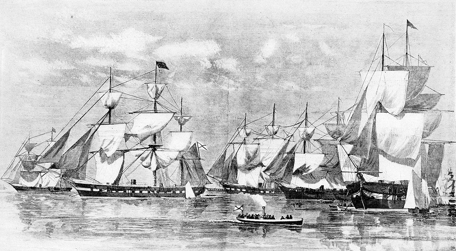 """Руски ратни бродови у Њујорку. Цртеж је објавио амерички политички журнал """"Harper's Weekly"""" у октобру 1863. Извор: Архив"""
