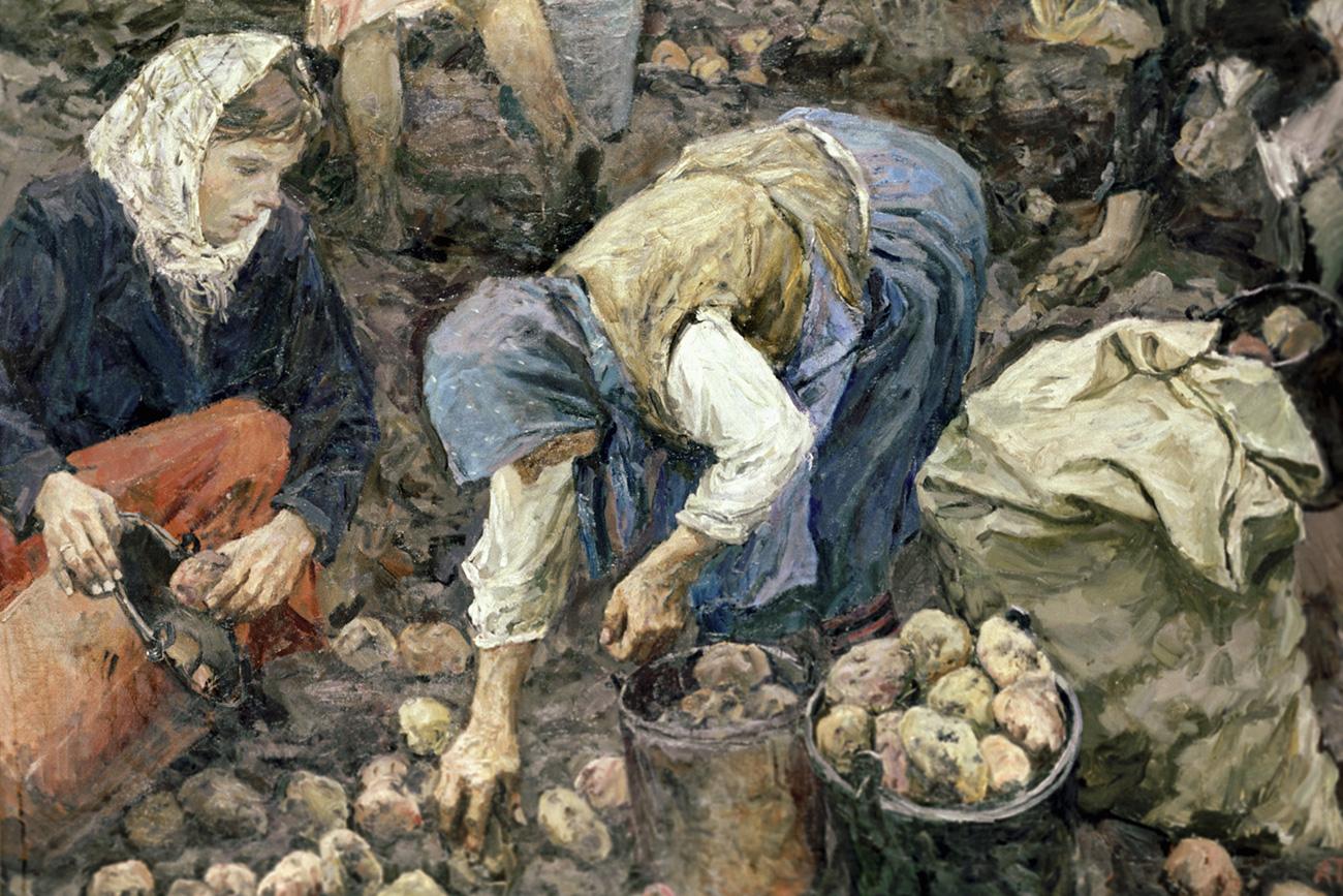"""Копија слике """"Скупљање кромпира"""" уметника Аркадија Пластова. Из колекције Руског музеја. Извор: РИА Новости."""
