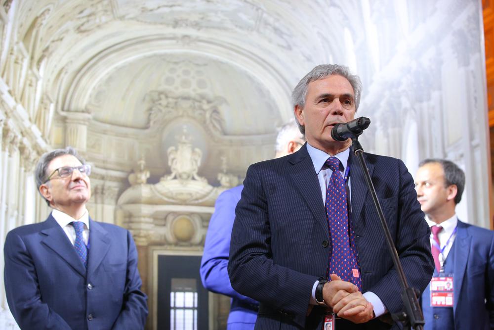 L'ambasciatore italiano nella Federazione Russa, Cesare Maria Ragaglini durante l'inaugurazione del padiglione italiano. Fonte: Ruslan Shamukov