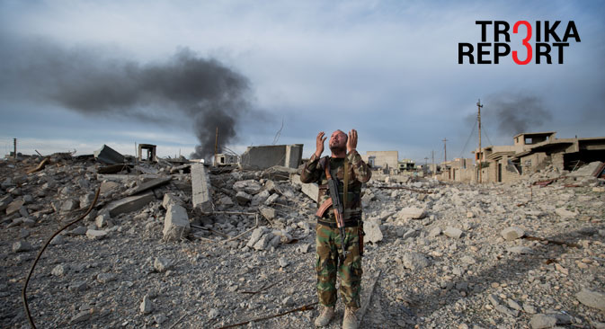 After a couple of hours of fire fights ISIS was kicked off out of the city of Sinjar in Iraq, Nov. 13, 2015. The Yezidi Shero Ibrahim Abdo Khalo realized the destroying of his house when he came back to his home city after one year and three months. When he arrived in the ruins he begins to pray.