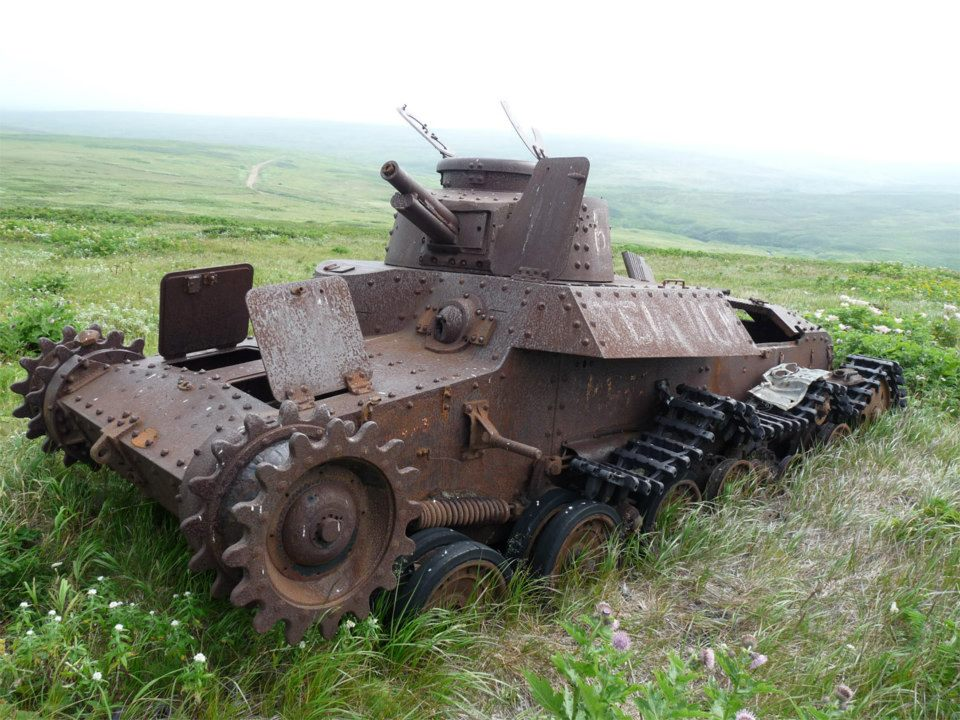 A Japanese Type 97 Chi-Ha tank that was destroyed during the Battle of Shumshu in the Kuril Islands in 1945.